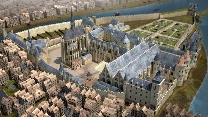 Vue du Palais de la Cité fin XIVe. Reconstitutions 3D. Borne tactile interactive. © Institut Passion for Innovation – Dassault Systèmes. 2014