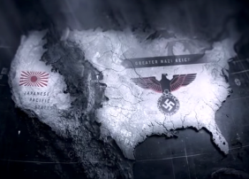 """Carte des USA coupés par les Rocheuses. Image issue du générique de la série """"Le Maître du Haut Château"""" (c) Amazon Video Prime"""