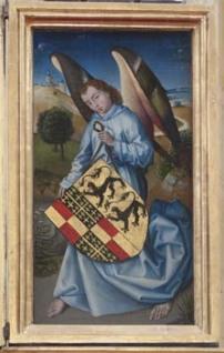 Armoiries de Laurette de Jaucourt - Retable de la Passion de l'église Saint Martin d'Ambierle