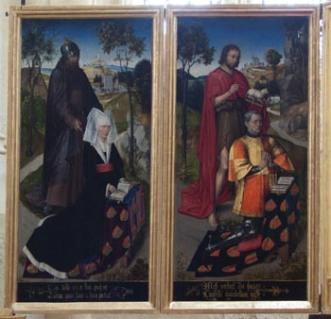 Armoiries de Jean de Chaugy et Guillemette de Montagu - Retable de la Passion de l'église Saint Martin d'Ambierle