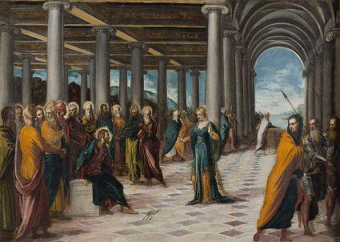 Tintoret et atelier (Giovanni Galizzi), Le Christ et la femme adultère, vers 1547 - 1549. Rome, Gallerie Nazionali di Arte Antica di Roma, Palazzo Barberini.